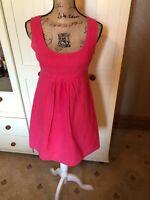 NEW LOOK Ladies Raspberry Pink Raised Dot Cotton Sleeveless Tunic Dress Size 10