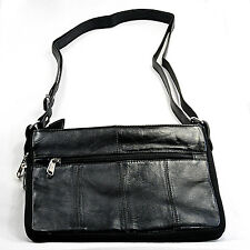 Sheep skin leather shoulder/hand bag/purse classic black, soft & luxurious