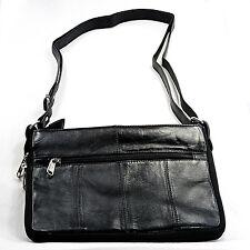 Sheep skin leather shoulder/hand bag/purse classic black, soft & luxurious