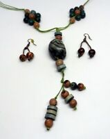 """25""""  wood bead earth tone blue brown green necklace with matching earrings"""
