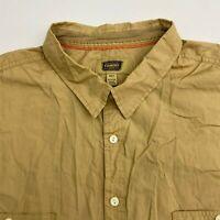 Foundry Button Up Shirt Men's 4XLT XXXXLT Short Sleeve Tan Casual 100% Cotton
