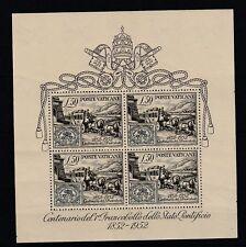 FRANCOBOLLI - 1952 VATICANO FOGLIETTO CENTENARIO L.50 MNH Z/7952