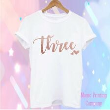 Luxury Kids Girls Third 3rd Birthday T-Shirt Party Outfit Top Rose Gold Three