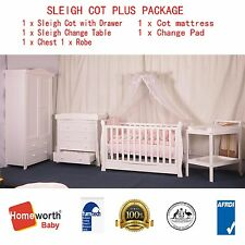 3 in 1 Sleigh Cot Change Table Chest Robe Organic Mattress Pad package  white