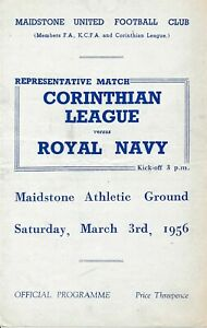 MAIDSTONE UNITED - Corinthian League v Royal Navy (Friendly) 1955/1956 - 4 pages