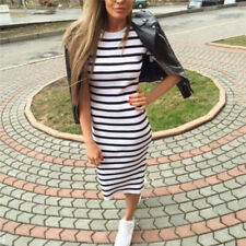 Summer Casual Striped Short Sleeve Maxi Dress Bodycon Cocktail Long Dress FT