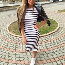 Summer Casual Striped Short Sleeve Maxi Dress Bodycon Cocktail Long Dress SGT