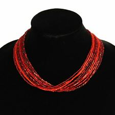 "NE134-213 Artisan Glass 12 Strand Necklace 20"" Red Garnet Guatemala Jewelry"