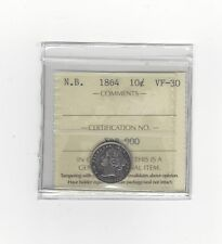 **1864**, ICCS Graded New Brunswick, 10 Cent, **VF-30**