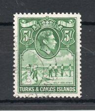 TURKS & CAICOS ISLANDS 1938 GEORGE 6TH 5/- YELLOWISH GREEN SG,204 F/U LOT 3912B