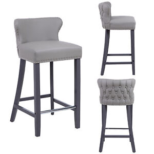 Leather Bar Stool | Deep Button Tufted Back | NO CUSTOMS CHARGES