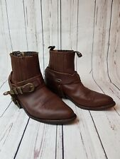 Sendra Women Biker Boots Leather Western Ankle Shoes Size UK 7,5 Brown