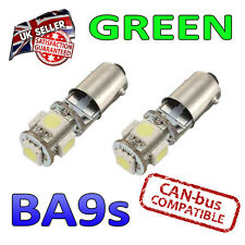 2 x BA9s Green Canbus LED Number Plate Interior Side Light 5 SMD Bulbs 233 T4W