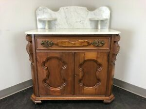 Antique Victorian Walnut Marble Top Washstand Circa 1900
