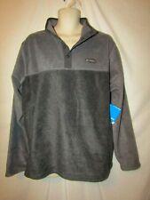 mens columbia flattop ridge 1/4 snap fleece pullover L $60 charcoal gray