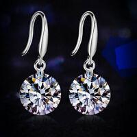 Elegant 18k White Gold Filled CZ Sapphire Ear Stud Earrings Hoops Women Jewelry