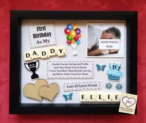 FIRST BITHDAY As DADDY Personalised FRAME GIFT Picture Plaque Keepsake