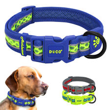 Reflective Dog Collar Soft Mesh Padded for Medium Large Dogs Buckles and D Rings