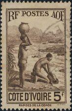 CÔTE-D'IVOIRE - 1936 - Yv.130 / Mi.150 5fr brun - Oblitéré TB