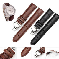 Fashion Leather Stainless Steel Butterfly Clasp Buckle Watch Band Strap 18-22mm