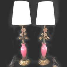 Vintage Murano Glass Boudoir Bedroom Lamps Decorative Pink Glass 1940s Unmarked