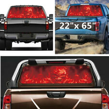 "Car Sticker Truck 22"" x 65"" Flaming Skull Rear Window Tint Graphic Decal Wrap"