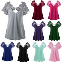 Women's V-Neck Plus Size Short Sleeve  Lace Blouse Trim Cutwork T-Shirt Tops Buy