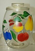 Vintage 1950s - 60s Bartlet Collins Hand Painted Glass Canister Cookie Jar