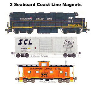 Seaboard Coast Line GP38-2, 40' Box Car & Caboose set of 3 magnets Andy Fletcher