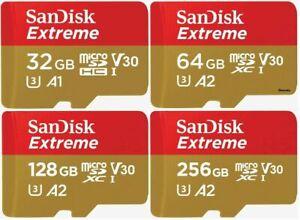 SanDisk Extreme  Micro SD Memory Card Gold SDXC 32GB 64GB 128GB 256GB Class 10