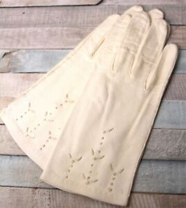 VINTAGE ITALY WHITE SOFT GENUINE LEATHER UNLINED WOMEN'S GLOVES Sz 6