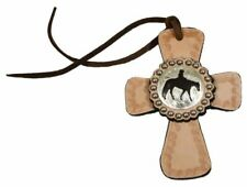Showman Leather Cowboy Cross w/ Silver Rider for Saddle/Breast Collar Horse Tack