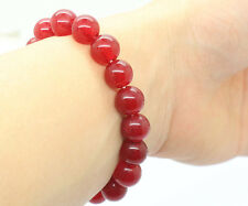 New 10mm Natural Red Jade Ruby Round Gemstone Stretchy Bangle Bracelet