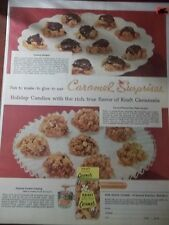 1956 VINTAGE PRINT AD KRAFT CARAMELS 10X13 SHOWS 3 RECIPES CARAMEL DELIGHTS