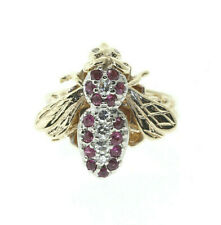 Vintage 14k Yellow Gold .16ct Diamond & .45ct Ruby Bee Ring Size 7.25