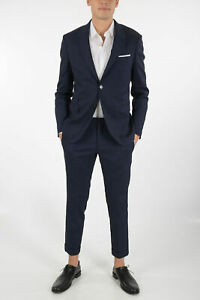 NEIL BARRETT men Formal Outfits Linen Suit Fitted Slim Single Breasted Blue 48