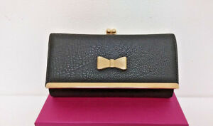 Girls Black Bow Style Womans Purse/Clutch/Card holder Double Space Free Gift Box