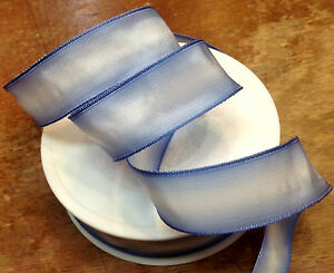 """Vintage Ribbon Rayon Acetate Ombre 7/8"""" Iris White 1yd Made in France"""