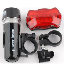 Waterproof Bike Bicycle Front 5 LED Head Light + Rear Safety Lamp Flashlight Set