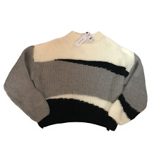 Topshop Ladies Knitted Cropped Jumper Size Small Ivory Grey Black Colour Block