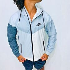 Super Rare Nike Windrunner Jacket Windbreaker Nylon Glanz Gray Black White Large