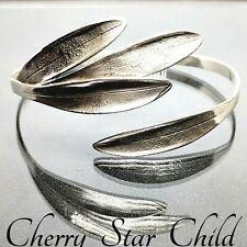 Solid sterling 925 silver polished olive leaf cuff bangle bracelet adjustable
