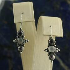 Vintage Sterling Silver 925 Amethyst Moonstone Drop Dangle Earrings Concho Style