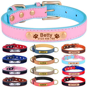 Boy Girl Leather Personalised Dog Collar Name Engraved Small Medium Large Puppy