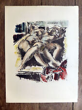Lithographie rehaussée NUS FÉMININS COUCHÉS monogramme CR Nu Nude