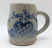 "Rowe Pottery Coffee Mug 1988 Handmade Rowe Pottery Works Cambridge Wis ""Say Yes"""