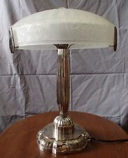 Paris Star Brass Base Table Lamp Deco Frost Flower Vianne Shade 1990'S France