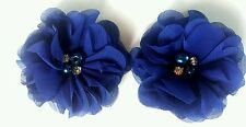 "2 Girls/ladies Royal dark blue 2"" Flower.Voile  Hair Clip.Pearl & diamante"