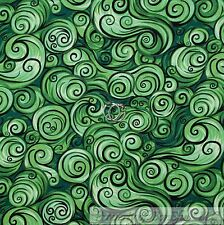 BonEful FABRIC Cotton Quilt Green Black S Swirl Scroll Boy Scout Girl SALE SCRAP