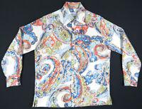 NWOT Vintage 50s 60s Andrade Hawaiian Aloha All Over Print Button Mens Shirt M